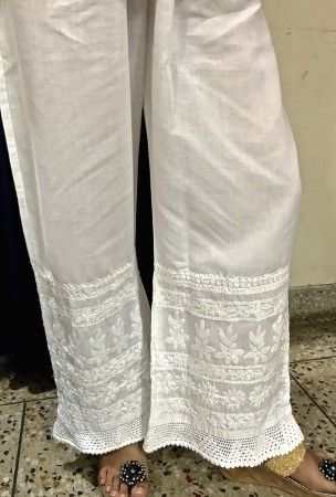 White Cotton Designer Ethnic Legging Pant Style Palazzo Trousers with rich Hand Chikankari Embroidery:Elasticated Waistband - BOTTOMS - WOMEN Collection
