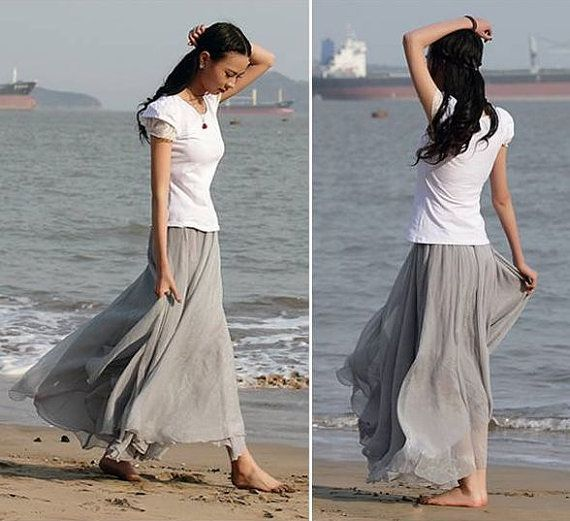 Gray Chiffon Maxi Skirt | Jill Dress