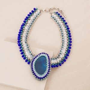 Crystal & Agate Statement Collar Necklace
