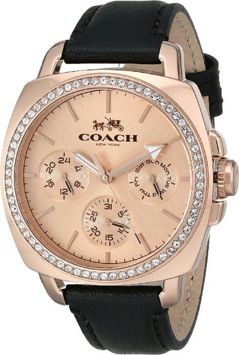 COACH Women's Boyfriend 40MM Leather Strap Watch Rose Gold/Black Watch