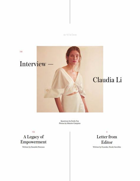 Editorial design from ONE Magazine | Issue No. 13 | Publisher of the Week