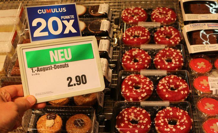 Patriotic Swiss donuts at @migros