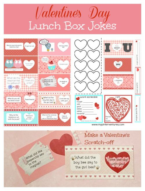 Scratch-off-Valentine's-Day-Lunch-Box-Jokes-Printable - DIY Scratch-off lunch box joke printable. Turn this printable into fun scratch off notes. Plus, a second page with a word scramble, I SPY, and coupons. A total of 18 days of lunch box notes.