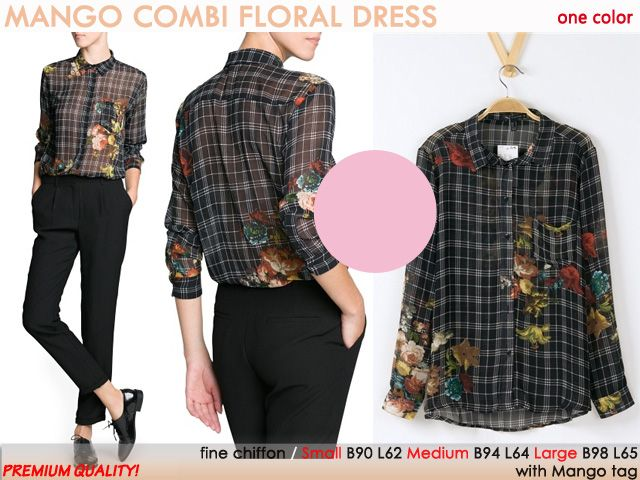 Combi Floral Top   - Premium Quality- Fabric : Fine Chiffon Avail in   S ,M ,L  One Color Only   MANGO Inspired