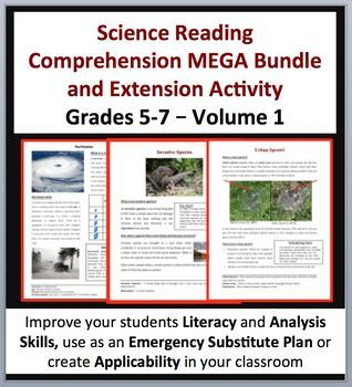 Science Article Bundle Volume 1 - 35 Science Reading Articles.  This completed bundle contains 35 reading comprehension (disciplinary literacy) articles. If you purchase this bundle, you'll only pay $1.25 per article.