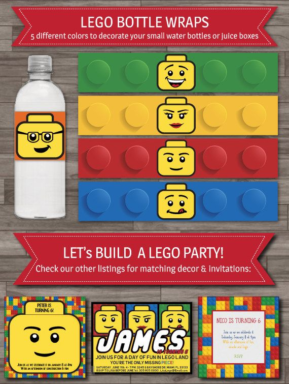 Lego Party Bottle Wraps, Lego Birthday Party Decoration, Printable Lego Bottle Labels, Party Supplies - Digital files: INSTANT DOWNLOAD on Etsy, $5.00
