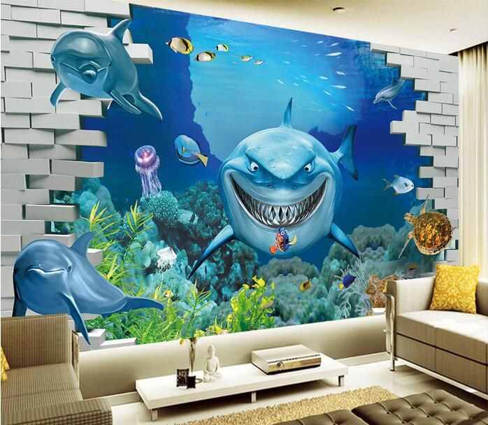 36 best wall murals images on pinterest underwater for Underwater mural ideas
