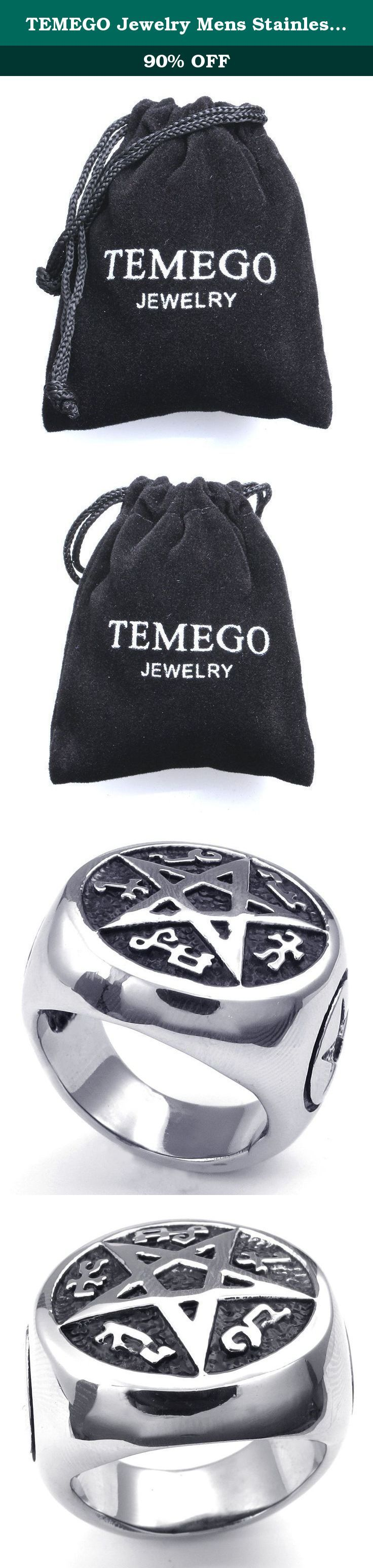 TEMEGO Jewelry Mens Stainless Steel Ring, Vintage Pentagram Band, Black Silver. Stainless Steel Jeweley has gained increasing popularity in men's jewelry. It does not tarnish and oxidized, which can last longer than other types of jewelry. Stainless steel jewelry has an amazing property of anti-allergice since they are often made without nickel.