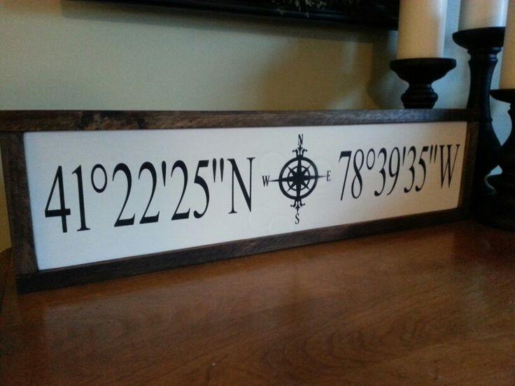 Latitude and longitude wood sign