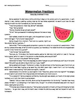Watermelon Fractions Fourth Grade Reading Comprehension
