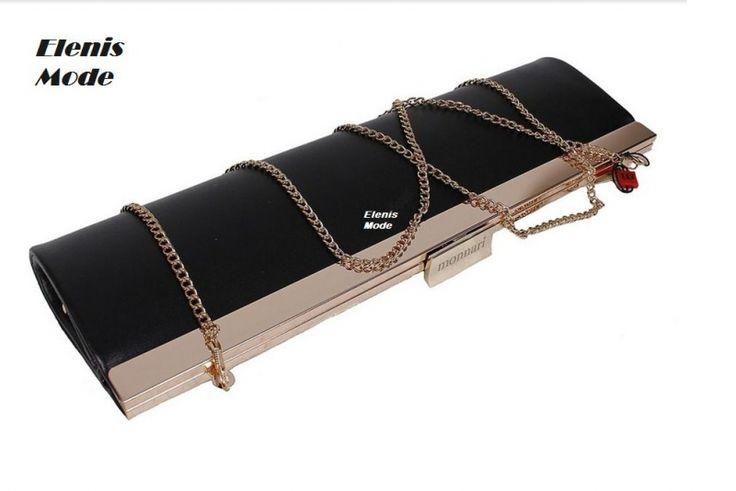 Elegante party tas in de kleur zwart,met goudkleurig accenten.Met lange ketting riem.Gemaakt van kwaliteit ecologische kunst leer.Afmetingen: Breedte - 15 cm.