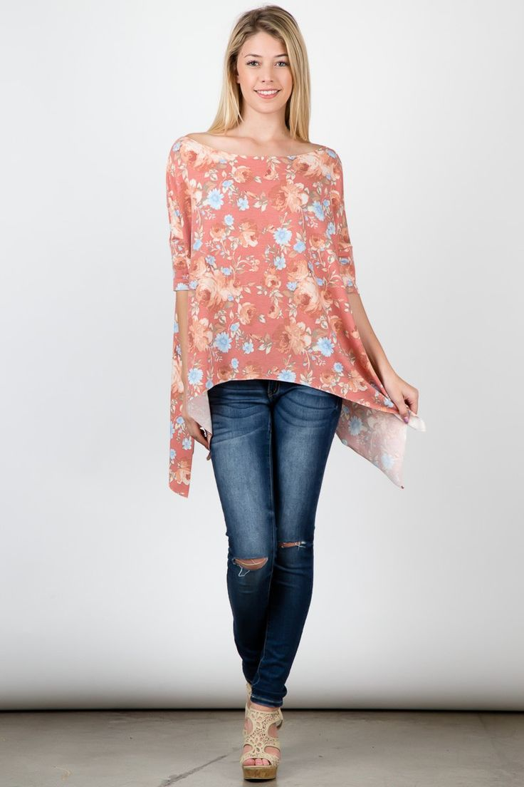 Mauve Loose Fit Boat Neck Floral Print 3/4 Sleeves Top! #fashion #USA #streetwear #streetstyle #streetfashion #trend #outfit #fashionweek #fashionshow #beauty #Sleeveless