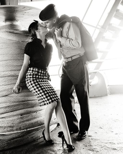 Vintage military couple