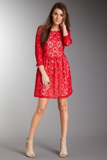 Red lace 3 4 sleeve dress