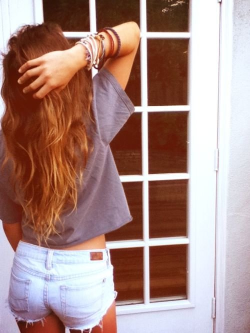 : Beaches Hair, Summer Fashion, Wavy Hair, Summer Hair, Long Hair Dos, Cute Summer Outfits, Style Summer, Jeans Shorts, Summer Clothing