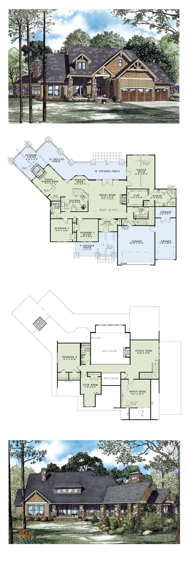 Luxury Craftsman House Plan 82260 | Total Living Area: 3345 sq. ft., 4 bedrooms & 3 bathrooms. This rustic home features timber work in the gables, siding, shake cedar, and massive stone columns on the covered porches. #houseplan #luxuryhome