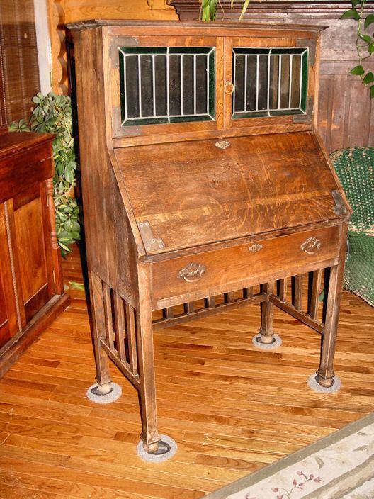 Antique Mission Oak Drop Leaf Desk W/ Display Arts & Crafts Secretary  #ArtsandCrafts...35---18.5--54h   Antique Furniture--secretary and  bookcases ... - Antique Mission Oak Drop Leaf Desk W/ Display Arts & Crafts