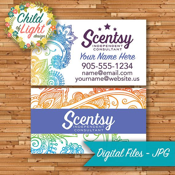 Scentsy Business Cards, Customized, Personalized, Print Your Own, Business Branding, Independent Consultant, by ChildofLightDesign on Etsy