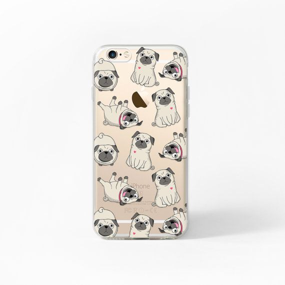 iPhone 7 Case Pug iPhone 6s Case Clear iPhone 6 by MargaritaCase