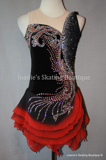 custom skating dresse red and black