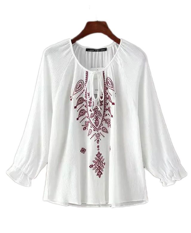 3/4 Sleeve Loose Fit Blouse with Embroidery Detail