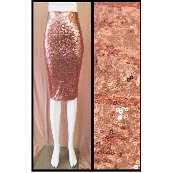 Rose Gold Sequin Pencil Skirt (175 RON) ❤ liked on Polyvore featuring skirts, grey, women's clothing, stretch skirt, pencil skirt, gray pencil skirt, elastic waist pencil skirt and stretch pencil skirt