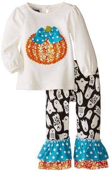 Mud Pie Baby-Girls Newborn Pumpkin Pant Set Ruffle Trim Leggings Halloween Warm
