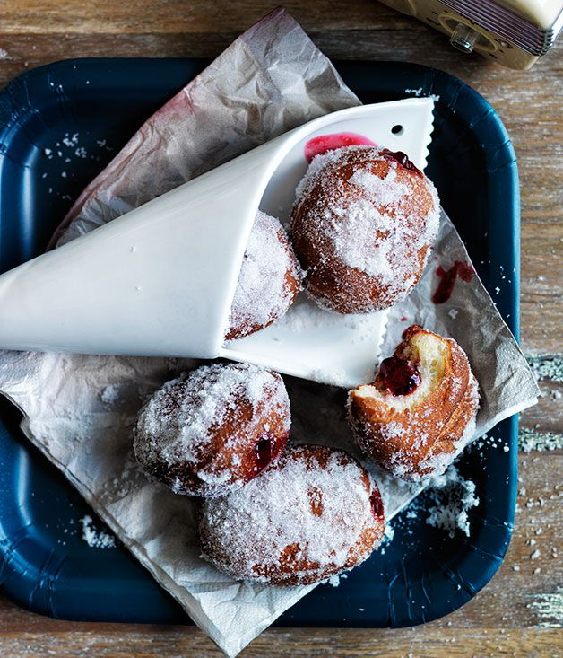 Jam doughnuts- I can almost taste the powdery sugar and gooey jam that's landed around the side of my face as I stuff this into my mouth