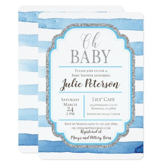 Watercolor baby shower invitation with silver glitter calligraphy and borders on a blue striped watercolor background in modern and trendy style by Amistyle Art Studio on Zazzle