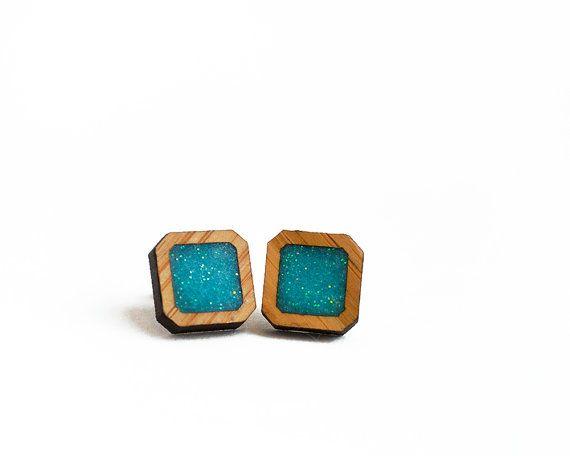 Square Resin Earrings Aqua Resin Earrings by HeartoftheHeart