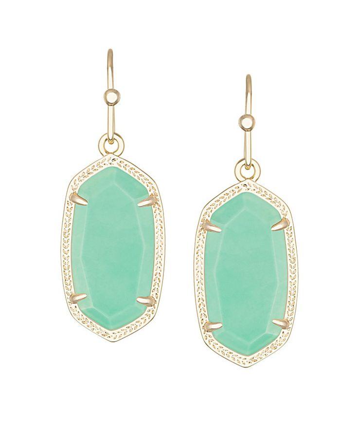 Dani Earrings in Mint - Mint green is spring's favorite new trend color and it's irresistible in the Dani oval earrings by Kendra Scott.
