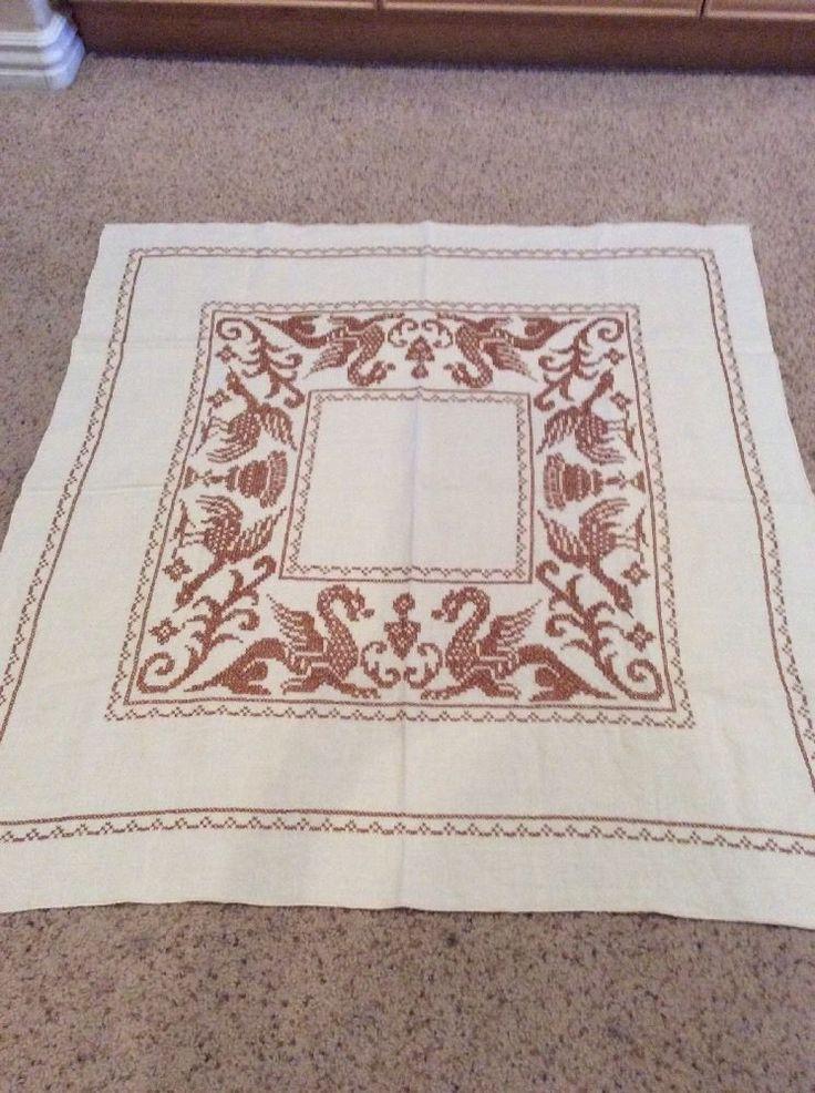 Vintage Hand Cross Stitched Dragon Theme Tablecloth   eBay