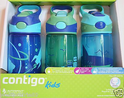 Contigo Kid 3-Pack Water Bottles Autospout Technology Spill-Proof BPA Free