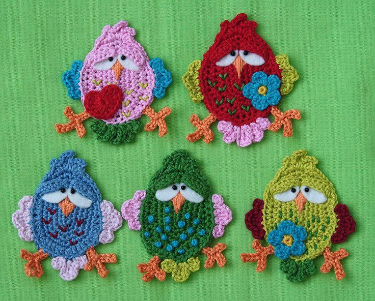 FITSCH el pájaro x 2-pájaro Crochet Patrón Apliques PDF