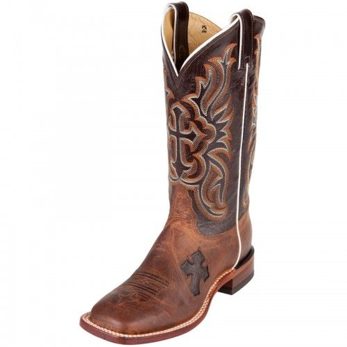 Super Popular Tony Lama Ladies' Cowboy Boots Antique Tan Vintage Goat and Nicotine Cross Inlay with Nicotine Crunch Goat Tops.