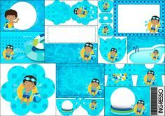 Brunette Boy Pool Party: Free Printable Invitations