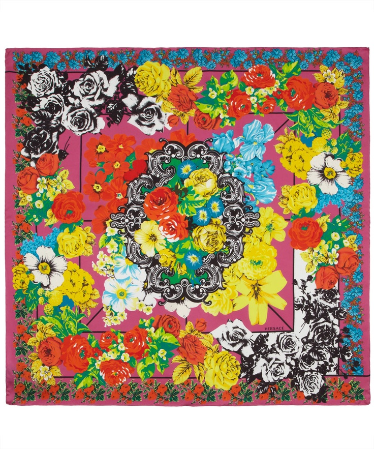 Multicolour Floral Baroque Print Silk Scarf, Versace. Shop the latest silk scarves from the Versace collection online at Liberty.co.uk