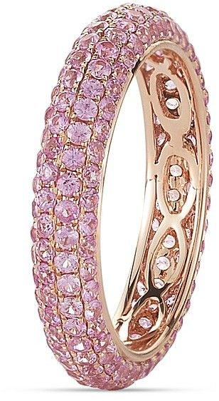 Pink sapphires shine in this tantalizing rose gold ring from Dana Rebecca Designs. 14K rose gold/pink sapphires Imported Pink sapphires: 2.25 ct. t.w. Size: 7 Almost all gemstones and black diamonds have been treated to enhance their beauty and require special care All gemstone carat weights (ct.