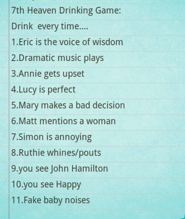 7th heaven drinking game