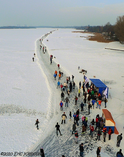 """Ice skating on Paterswoldse Meer, a lake just South of the city of Groningen in the Netherlands."""