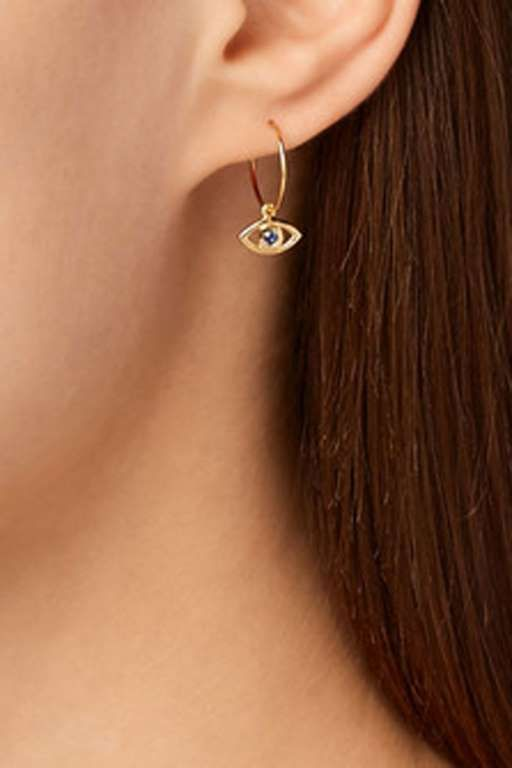 Evil Eye Earrings, IAM BY ILEANA MAKRI (Available at Net-A-Porter), $275 - Provided by Cosmopolitan
