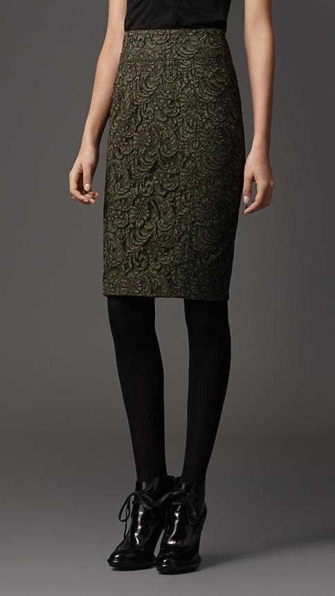 Burberry London Lace Pencil Skirt