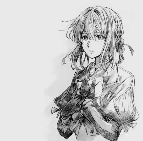 Imagen de anime, black and white, and violet