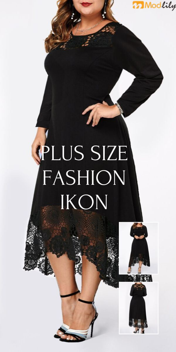 Plus Size Lace Panel Asymmetric Hem Dress