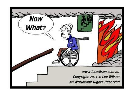 Cartoon Of A Person Using Wheelchair Looking Down Fire