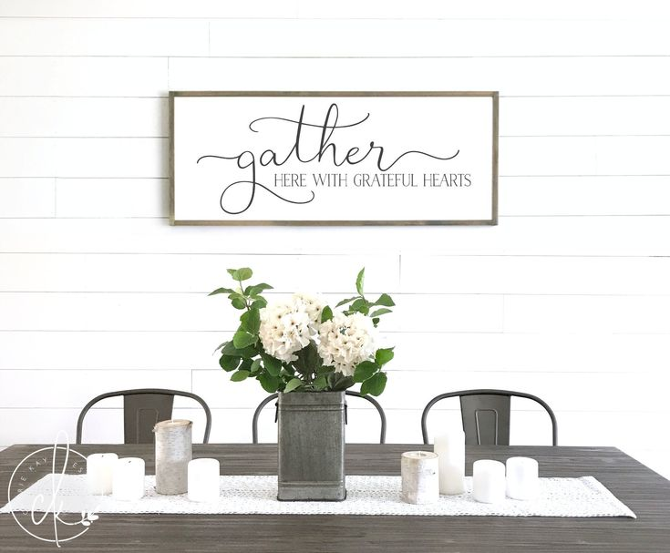 Gather here with grateful hearts sign | Dining room wall ...