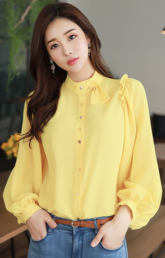 StyleOnme_Gold Button Frill Detail Neck Tie Blouse #yellow #frill #blouse #feminine #koreanfashion #kstyle #kfashion #springtrend #seoul #dailylook