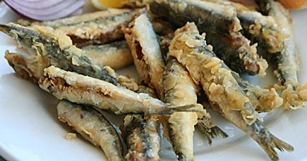 acciughe fritte. fried anchovies