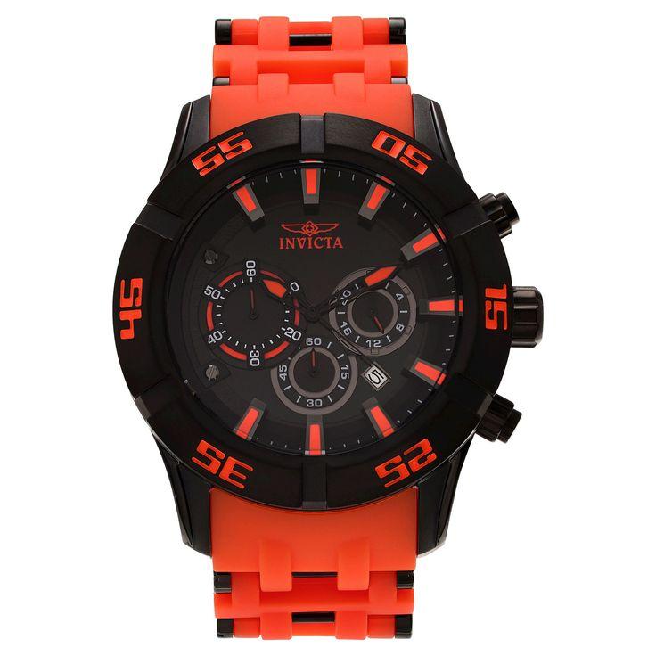 Men's Invicta 21822 Sea Spider Quartz Chronograph Black Dial Strap Watch - Orange
