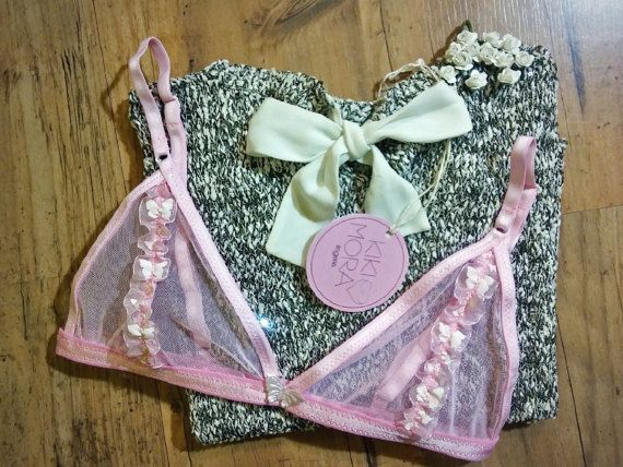 Pink triangle bralette with pink mesh and pink by KikiMoraLingerie